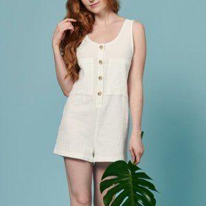 Whimsy + Row Alicia Romper Short White Cotton L